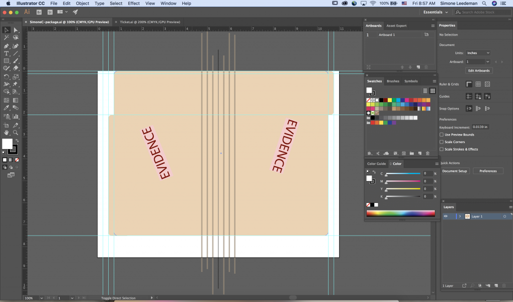 A screenshot of the Adobe Illustrator Interface while I was in the process of making the package.