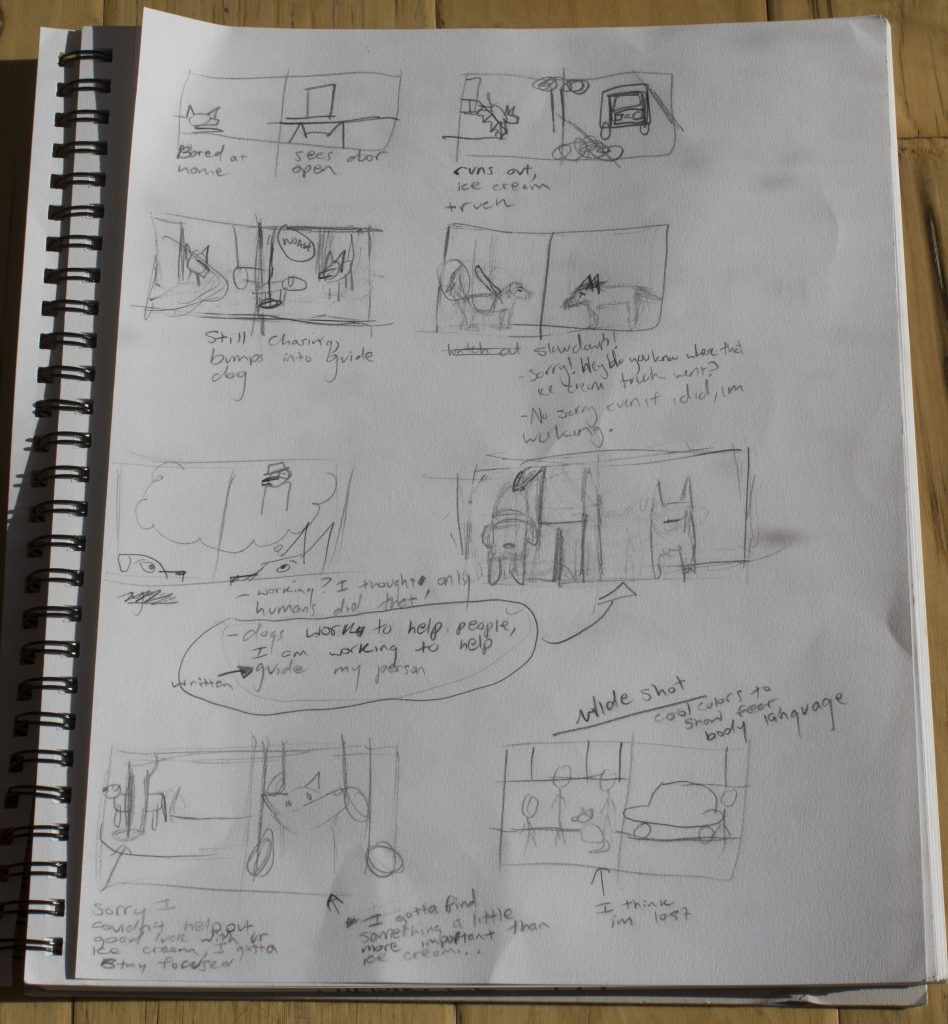 first storyboard sketches