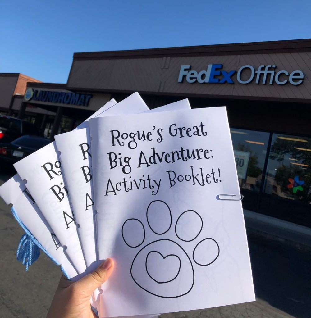 photo of booklets being held up in front of FedEx sign