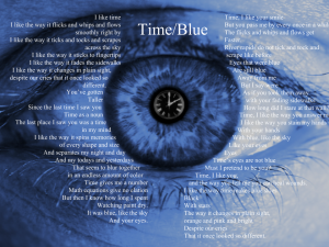 The picture shows an eye tinted blue with a white clock outline in the pupil. The text for the poem surrounds the eye.