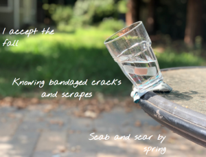 The photo is of a cup with a bandaid on it about to fall off of a table outside. On that picture is the text of my haiku.