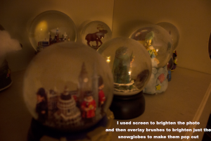 Snow globes in a line