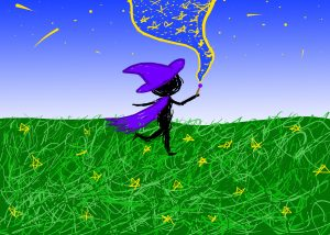 A witch with a purple hat and cape uses her wand to sent stars into the night sky.