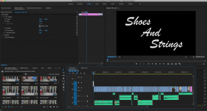 A screenshot of a premier pro workspace for the film Shoes and Strings