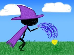 A witch with a purple hat and cloak uses her wand to water a yellow flower