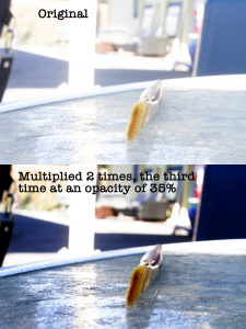photo of a paintbrush, multiplied two times using multiply blend modes