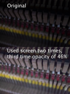 Image of the inside of a piano, using screen two times to brighten the image