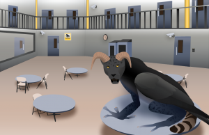The illustration depicts a creature made of a panther, with rams horns, a crow's wing, a raccoon tail and frog legs. This creature is standing in a prison visitation room.