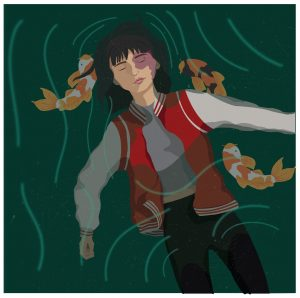 The image depicts a girl floating in water, with fish around her.