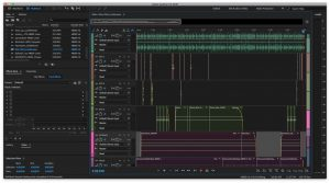 The image shows Adobe Audition, and all of the different sound files that went into the complete file of the story.