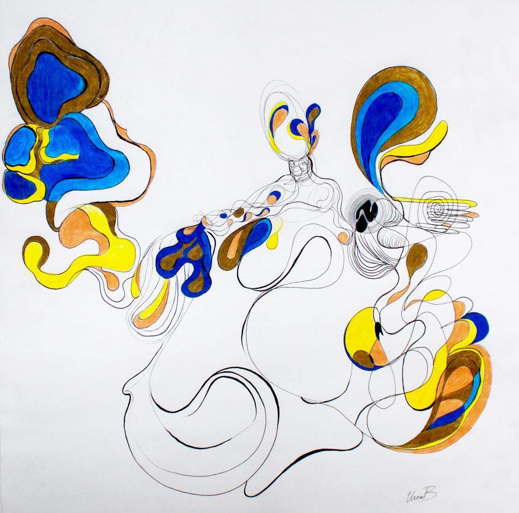 "18 x 18"" Ink pen, colored pencil"